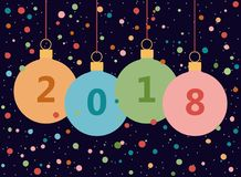 Card with the New 2018. Vector illustration. Postcard with Christmas balls and 2018 inscription on them. Congratulations to the New year. Vector illustration Royalty Free Stock Images