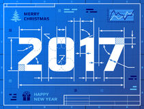 Card of New Year 2017 as blueprint drawing Stock Photo