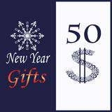 Card for New Year gifts with decorative snowflake Stock Photography