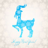 Card with new year goat and snowflakes. Beautiful card with snowflakes and a symbol 2015 year - goat Royalty Free Stock Photo