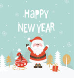 Card for new year. New Year Greeting Card. New Year lettering with Santa. Vector illustration Stock Photos