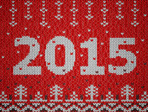 Card of New Year 2015 with knitted texture. Christmas jumper fragment with 2015 New Year. Qualitative vector (EPS-10) illustration for new year's day, christmas Stock Images