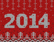 Card of New Year 2014 with knitted texture. Christmas jumper fragment with 2014 New Year. Qualitative vector (EPS-10) illustration for new years day, christmas Royalty Free Stock Photo