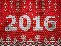 Card of New Year 2016 with knitted texture Royalty Free Stock Images