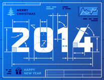 Card of New Year 2014 like blueprint drawing. Stylized drawing of 2014 on blueprint paper. Qualitative vector (EPS-10) illustration for new years day, christmas Stock Images