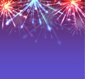 Card with New Year multicolored fireworks with sparks and place for your creativity. Royalty Free Stock Photography