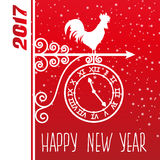Card new year rooster vector. Greeting card. Weather vane with rooster. Happy 2017 new year Stock Photos