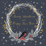 Card with New Year`s Eve Wreath Stock Photography