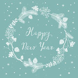 Card with New Year`s Eve Wreath Stock Photos