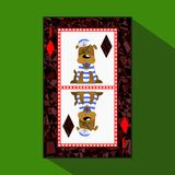 Card New Year`s poker.  illustratio. joker diamond. symbol of the year 2018, a dog in a sailor suit Royalty Free Stock Images