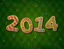 Card of New Year 2014 in shape of gingerbread Royalty Free Stock Images