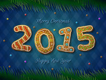 Card of New Year 2015 in shape of gingerbread Royalty Free Stock Image