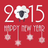 Card. 2015 New Year vector illustration with cute sheep Stock Images