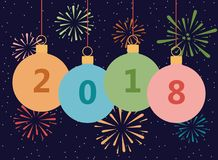 Card with the New 2018 year. Vector illustration. Royalty Free Stock Photo