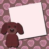 Card with nice dog and pink flowers Stock Photo