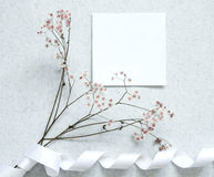Card note with flower Stock Photo