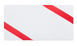 Card note with red ribbon Stock Photography
