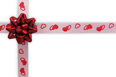 card note with  ribbon and red bow Stock Photo