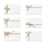 Card notes with gift bows Royalty Free Stock Photos
