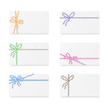 Card notes with gift bows Royalty Free Stock Image