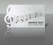 Card with notes and treble clef Royalty Free Stock Images