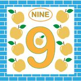 Card with number 9 nine. Learning numbers, mathematics.  Royalty Free Stock Images