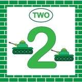 Card with number 2 two. Learning numbers, mathematics. Education. Tank, transport. Card with number 2 two. Learning numbers, mathematics. Education. Tank Stock Photos
