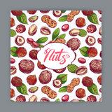 Card with nuts. Cute card with nuts and leaves. hand-drawn illustration Stock Photos