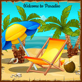 Card on the ocean with palm trees and sun loungers Royalty Free Stock Image