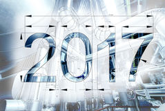 Card Of New Year 2017 Blueprint Drawing Combined With Picture Stock Images