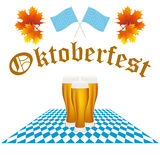 Card Oktoberfest festival. Festival Oktoberfest in the fall and beer glasses in maple leaves Royalty Free Stock Image