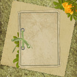 Card from old paper on the abstract background. Vintage card from old paper and rose on the abstract background Royalty Free Stock Photo