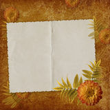 Card from old paper on the abstract background. Vintage card from old paper and flower on the abstract background Royalty Free Stock Photo