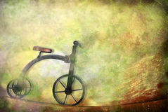 Card old toy, tricycle bike Royalty Free Stock Photos