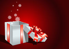 Card with open gift box Royalty Free Stock Image