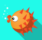 Card with orange fish, blue background, flat style Royalty Free Stock Images