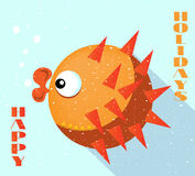 Card with orange fish, blue background, flat style. Big orange fish with lips , flat design, blue background Royalty Free Stock Photos