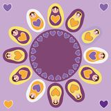 Card orange Russian dolls matryoshka on a purple Stock Image