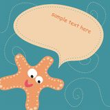 Card with orange starfish Royalty Free Stock Photography