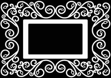 Card with an ornament. Decorative frame. Decorative ornament with space for text on a black background. greeting card template or coloring book page Stock Photo