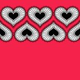 Card with ornament from hearts for Valentine. Royalty Free Stock Images