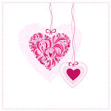 Card with ornamental hearts. Good for valentine day. Vector illustration Stock Photos