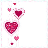 Card with ornamental hearts. Stock Photos