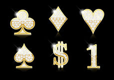 Card and other symbols - gold and diamonds Royalty Free Stock Photography