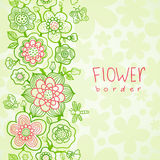 Card with outline floral seamless border Stock Photos
