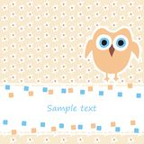 Card with owl. Greeting card with cute owl Stock Image