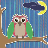 Card with owl on branch moon and clouds Royalty Free Stock Image