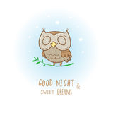 Card with owl. Card with cute cartoon sleeping owl. Little funny animal. Bedtime. Children's illustration. Vector image Royalty Free Stock Image