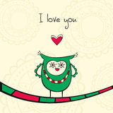 Card with owl in love Stock Photo