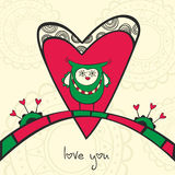 Card with owl in love and heart Royalty Free Stock Photos
